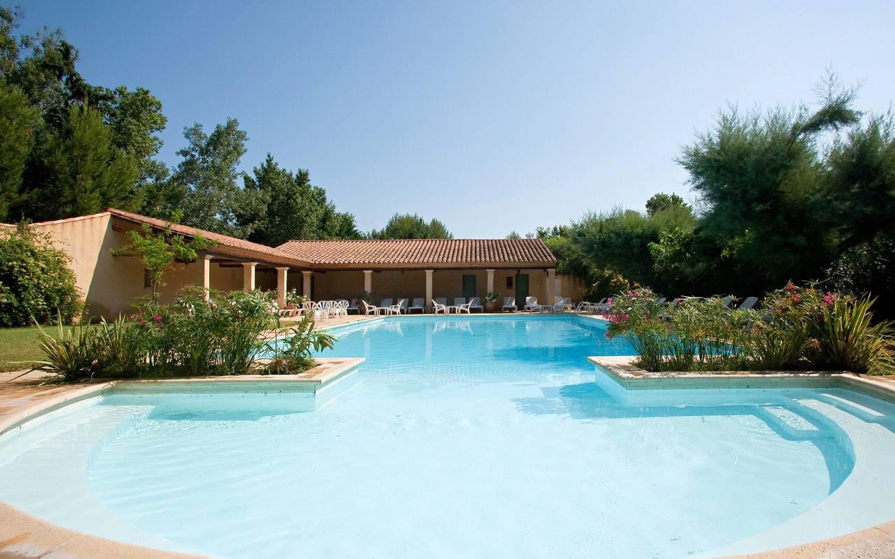 Piscine de notre hôtel près du canal d'Aigues Mortes, Le Mas des Sables.